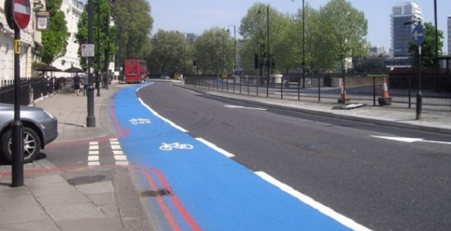 Coloured Cycle Lane Designs in Wotton Cross